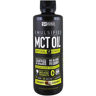 Sports Research, Emulsified, MCT  Oil, Creamy Coconut , 16 fl oz (473 ml)