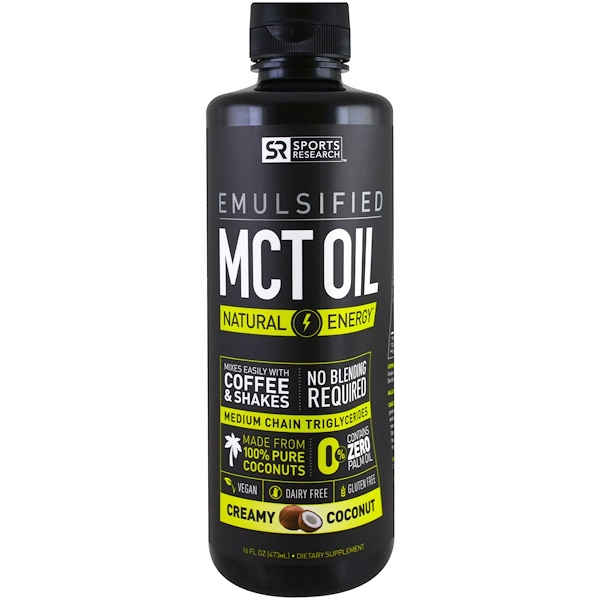 Sports Research, Emulsified, MCT  Oil, Creamy Coconut , 16 fl oz (473 ml) (Discontinued Item)