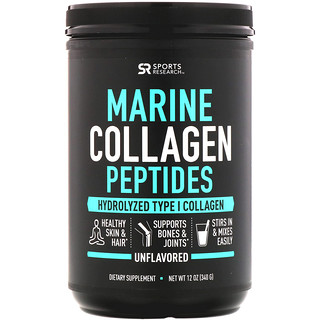 Sports Research, Marine Collagen Peptides, Unflavored, 12 oz (340 g)