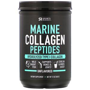 Спортс Ресерч, Marine Collagen Peptides, Unflavored, 12 oz (340 g) отзывы покупателей