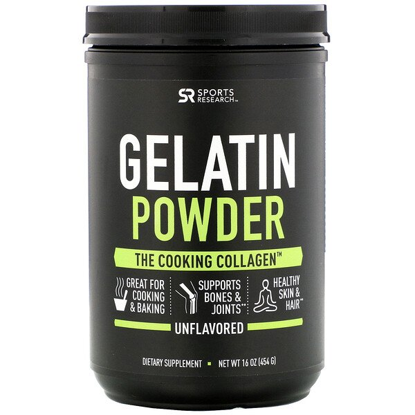 Sports Research, Gelatin Powder, Unflavored, 16 oz (454 g)