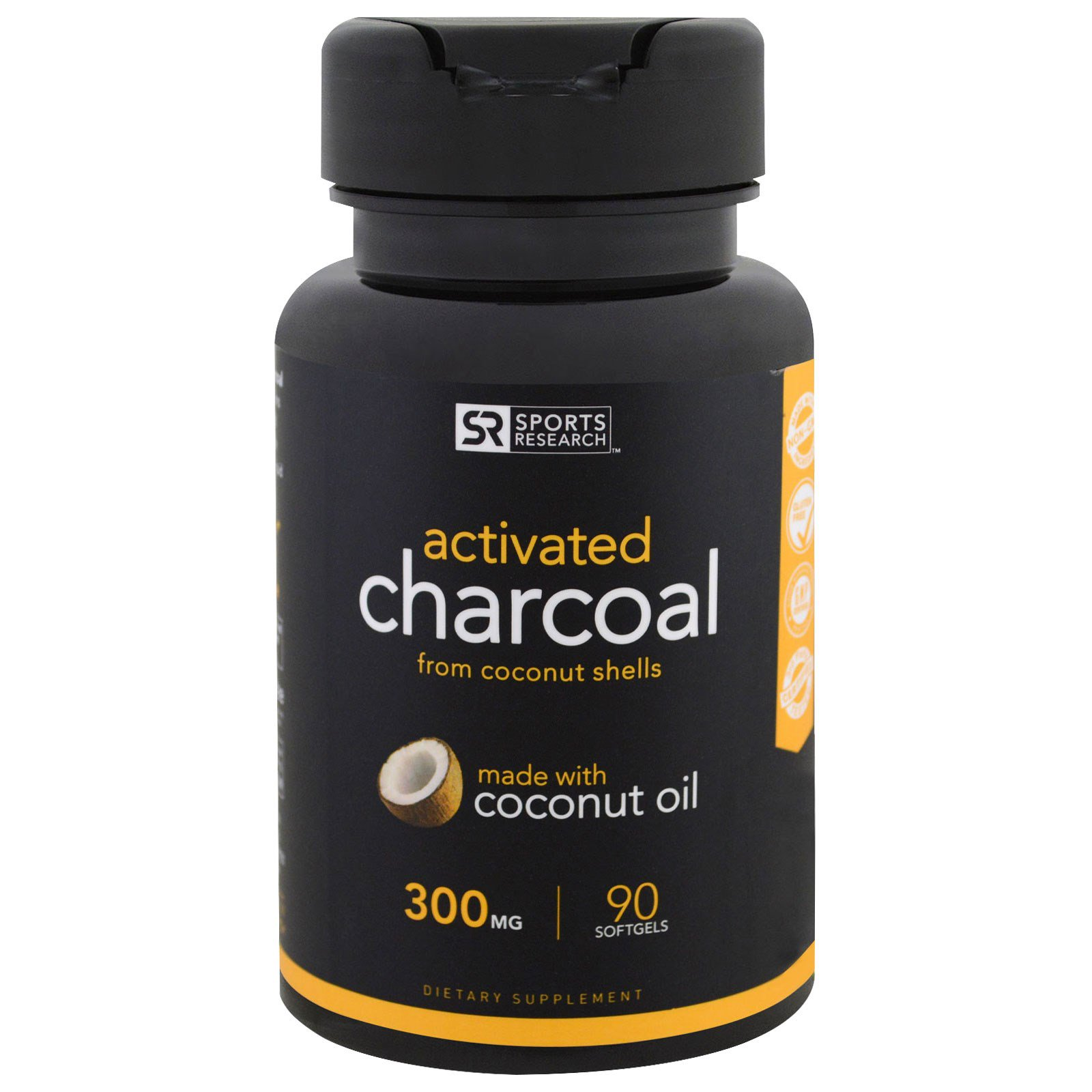 Sports Research, Activated Charcoal with Extra Virgin Organic Coconut Oil, 90 Count