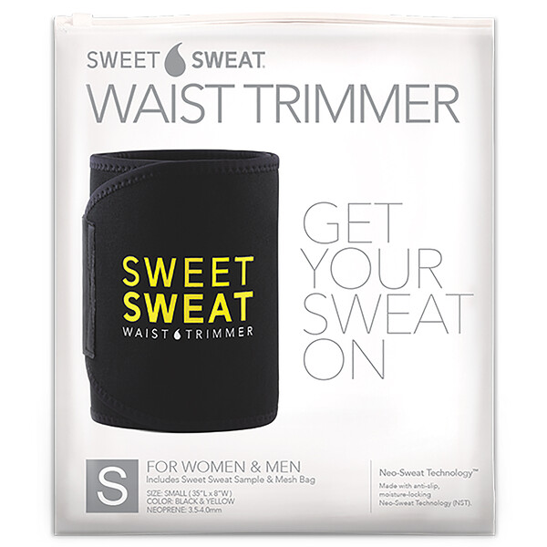 Sweet Sweat Waist Trimmer, Small, Black & Yellow, 1 Belt