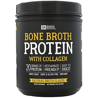 Sports Research, 콜라겐 함유 본 브로스 단백질, 천연 브로스, 16.04 oz (455 g)