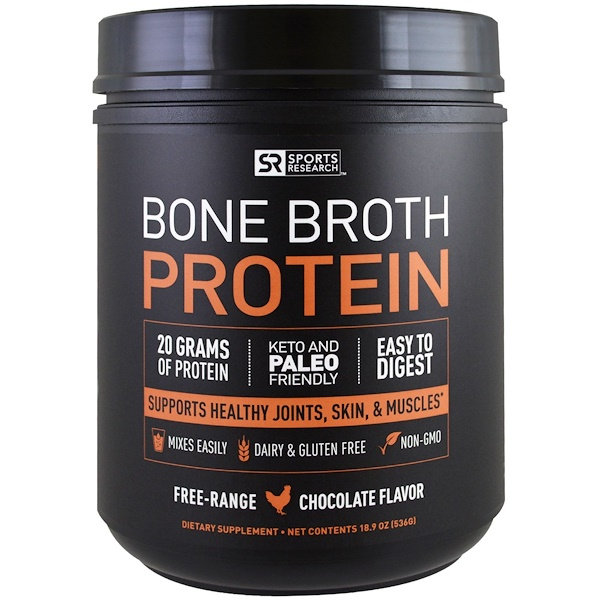 Sports Research, Bone Broth Protein, Chocolate, 1.18 lbs (536 g) (Discontinued Item)