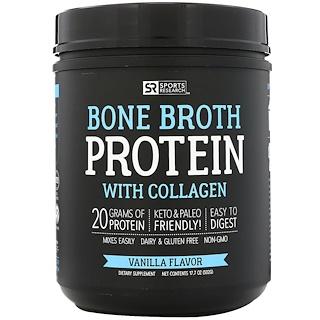 Sports Research, Bone Broth Protein with Collagen, Vanilla Flavor, 17.7 oz ( 502 g)