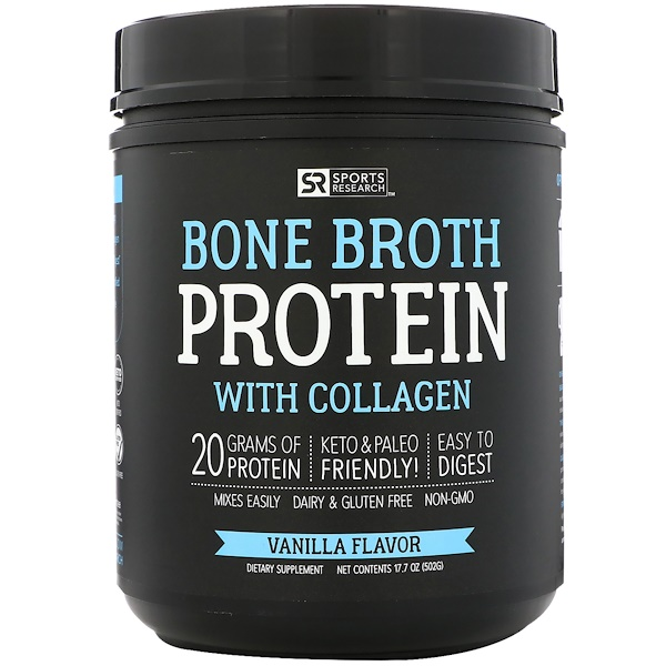 Sports Research, Proteína de caldo de osso com colágeno, sabor baunilha, 17,7 oz (502 g) (Discontinued Item)