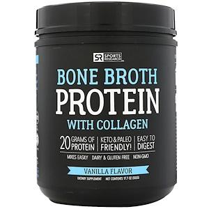 Спортс Ресерч, Bone Broth Protein with Collagen, Vanilla Flavor, 17.7 oz ( 502 g) отзывы