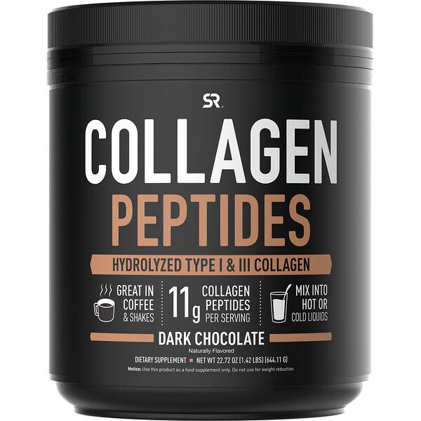 Collagen Peptides, Hydrolyzed Type I & III Collagen, Dark Chocolate, 1.42 lbs (644.11 g)