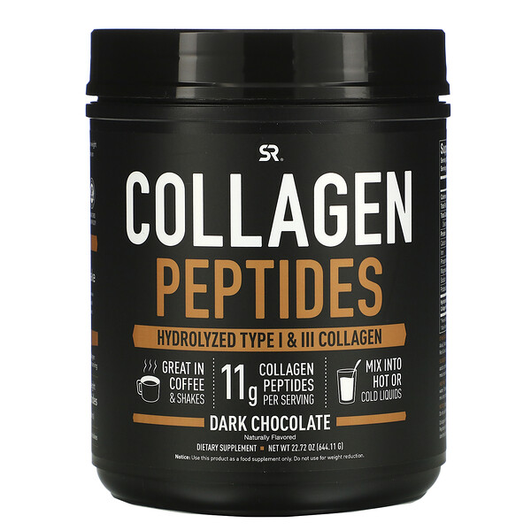 Sports Research, Collagen Peptides, Hydrolyzed Type I & III Collagen, Dark Chocolate, 1.42 lbs (644.11 g)