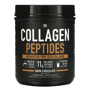 Спортс Ресерч, Collagen Peptides, Hydrolyzed Type I & III Collagen, Dark Chocolate, 1.42 lbs (644.11 g) отзывы
