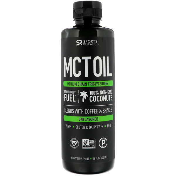 Sports Research, MCTオイル、無風味、16 oz (473 ml)