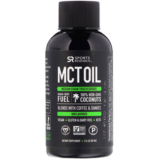 Sports Research, MCTオイル、無風味、2 fl oz (59 ml)