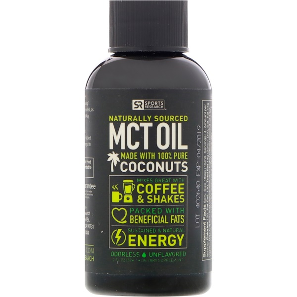 Sports Research, MCT Oil, Unflavored, 2 fl oz (59 ml)