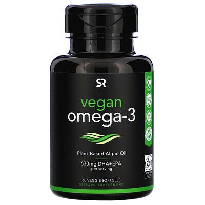 Купить Sports Research Vegan Omega-3, 60 Veggie Softgels