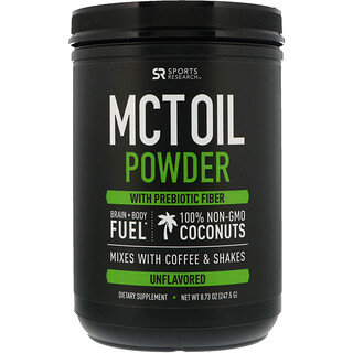 Sports Research, MCT Oil Powder with Prebiotic Fiber, Unflavored, 8.73 oz (247.5 g)