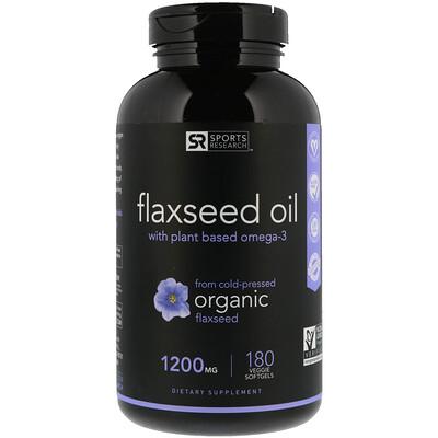 Купить Sports Research Льняное масло с растительной омега-3, 1200мг, 180растительных мягких капсул