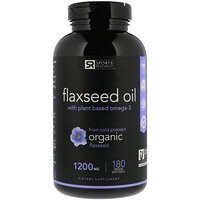 Flaxseed Oil with Plant Based Omega-3, 1200 mg , 180 Veggie Softgels - фото