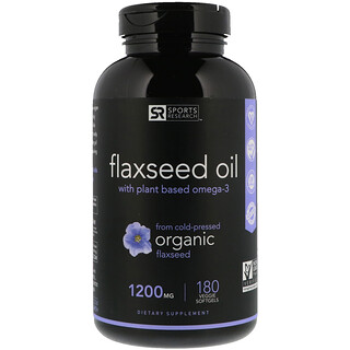 Sports Research, Flaxseed Oil with Plant Based Omega-3, 1200 mg, 180 Veggie Softgels