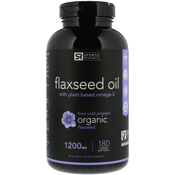 Flaxseed Oil with Plant Based Omega-3, 1,200 mg, 180 Veggie Softgels