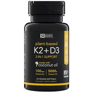 Sports Research, Vitamina K2 + D3, 100 mcg/5000 UI, 60 cápsulas blandas vegetales