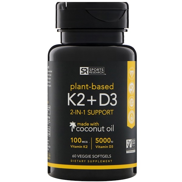 Sports Research, Vitamin K2 + D3, 100 mcg/5000 IE, 60 Veggie-Weichgelkapseln