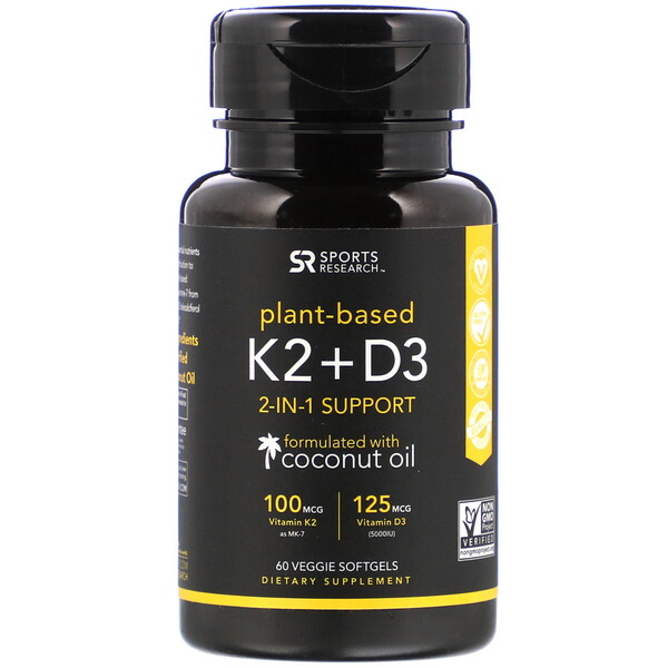 Sports Research, Vitamina K2 y D3, 100 mcg/125 mcg, 60 cápsulas blandas vegetarianas