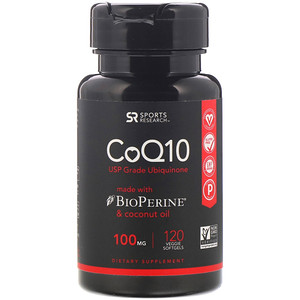 Sports Research, CoQ10 with BioPerine & Coconut Oil, 100 mg, 120 Veggie Softgels'
