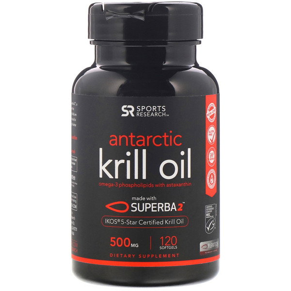 Sports Research, Antarctic Krill Oil with Astaxanthin, 500 mg, 120 Softgels