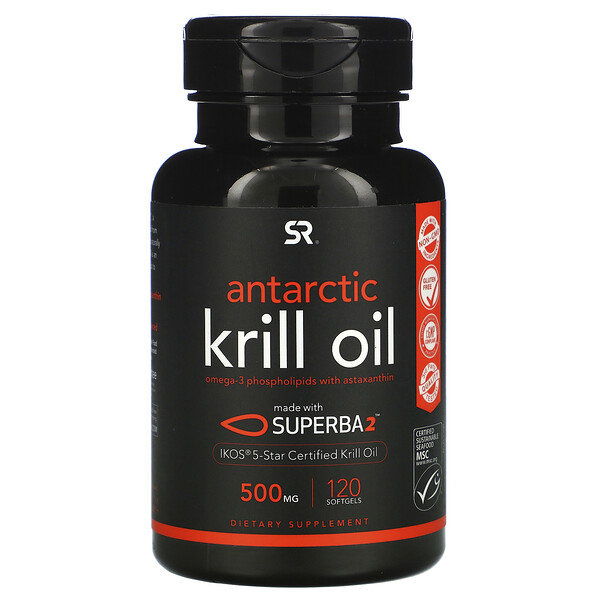 SUPERBA 2 Antarctic Krill Oil with Astaxanthin, 500 mg, 120 Softgels