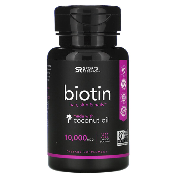 Biotin with Coconut Oil, 10,000 mcg, 30 Veggie Softgels
