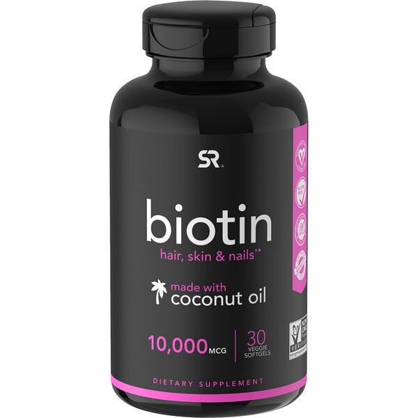 Biotin with Coconut Oil, 10,000 mcg, 30 Veggie Softgels