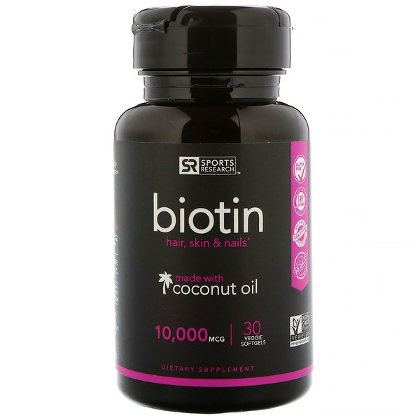 Sports Research, Biotin with Coconut Oil, 10,000 mcg, 30 Veggie Softgels