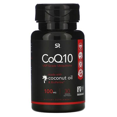 Sports Research Коэнзим Q10 с BioPerine и кокосовым маслом, 100мг, 30растительных мягких таблеток