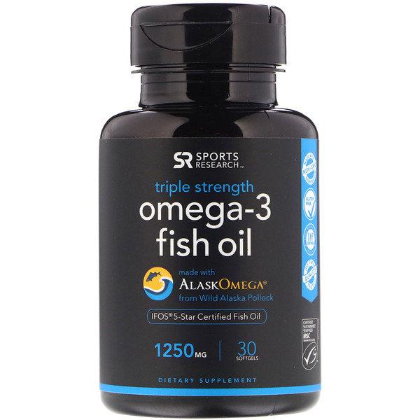 Sports Research, Omega-3 Fish Oil, Triple Strength, 1,250 mg, 30 Softgels