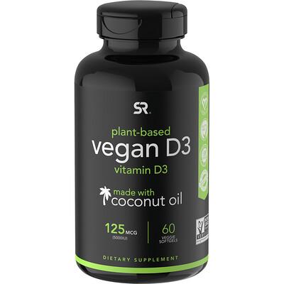 Купить Sports Research ВитаминD3 для веганов, 125мкг (5000 МЕ), 60растительных мягких таблеток