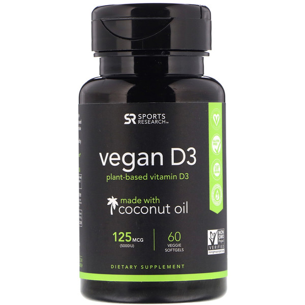 Sports Research, Vegan D3, 125 mcg (5000 IU), 60 Veggie Softgels
