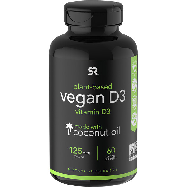 Vegan D3, 125 mcg (5,000 IU), 60 Veggie Softgels