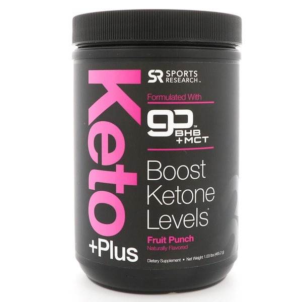 Sports Research, Keto Plus, GO BHB + MCT, Fruit Punch, 1.03 lbs (465.2 g)