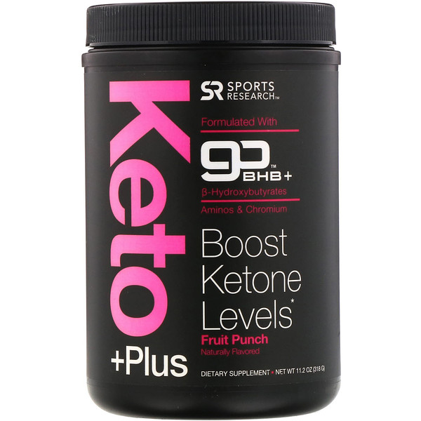Sports Research, Keto Plus, GO BHB + MCT, Fruit Punch, 1.02 lbs (464 g)