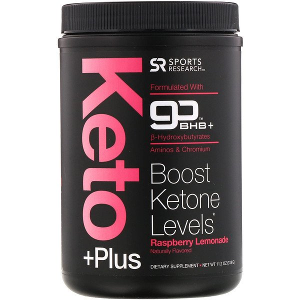 Sports Research, Keto Plus، GO BHB + MCT ، ليمونادة توت العليق ١١.2 oz (318 جم)
