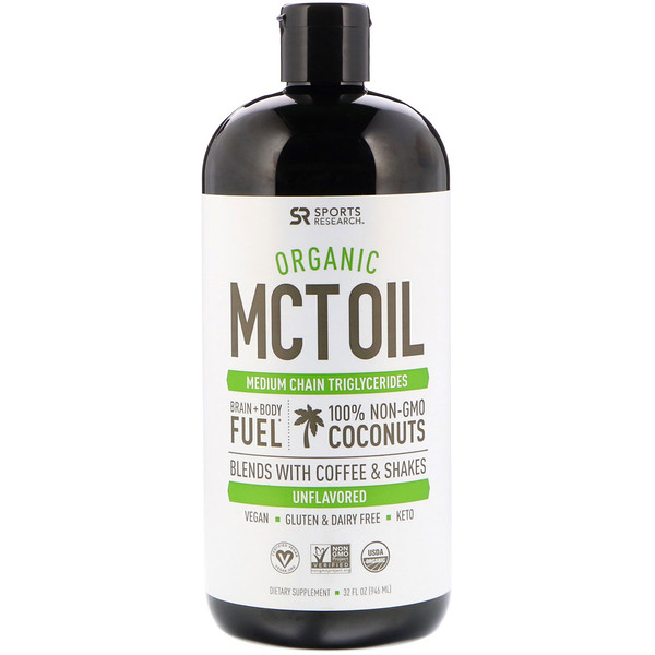 Sports Research, Organic MCT Oil, Unflavored, 32 fl oz (946 ml)