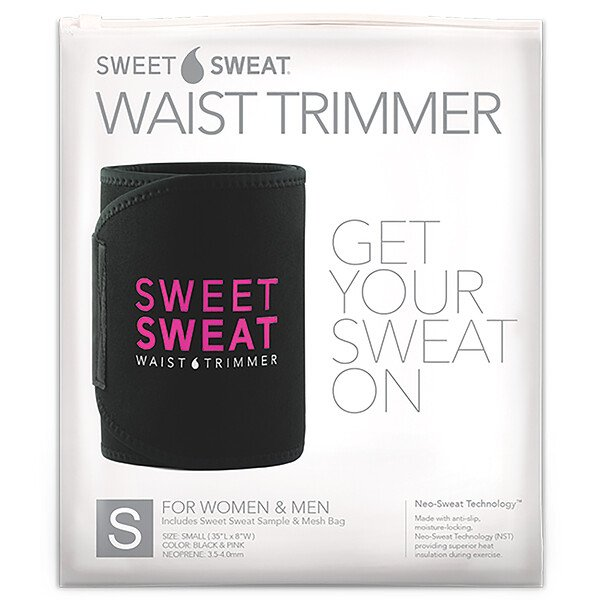 Sweet Sweat Waist Trimmer, Small, Black & Pink, 1 Belt