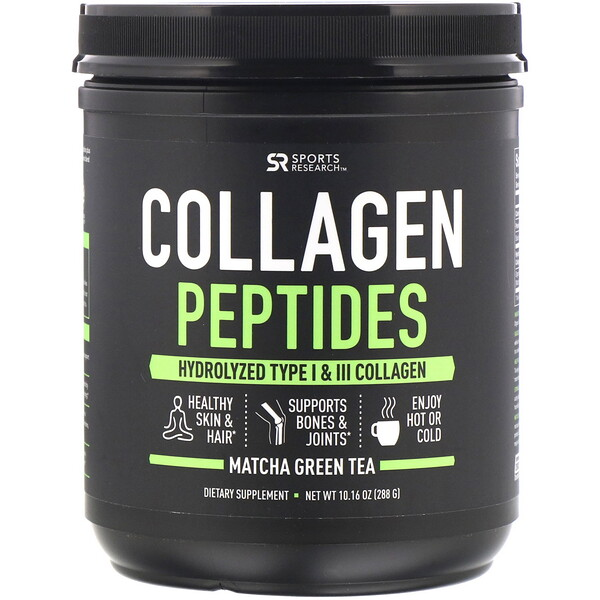 Collagen Peptides, Hydrolyzed Type I & III, Matcha Green Tea, 10.16 oz (288 g)