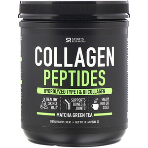 Sports Research, Collagen Peptides, Hydrolyzed Type I & III, Matcha Green Tea, 10.16 oz (288 g)'