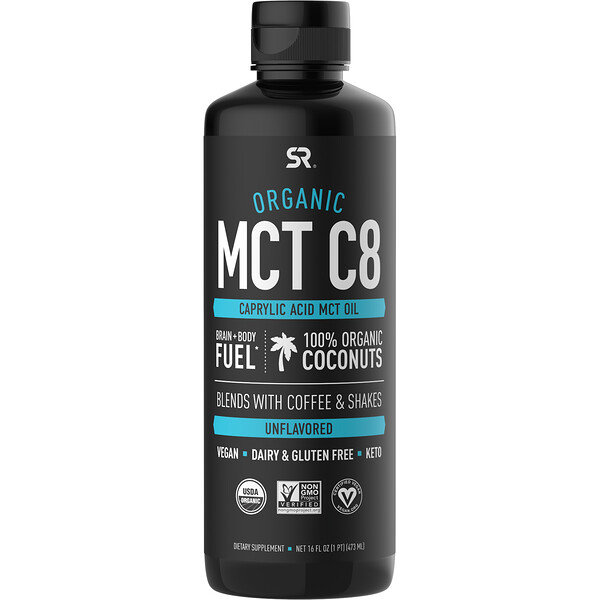 Organic MCT C8 Oil, Unflavored, 16 fl oz (473 ml)