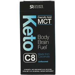 Спортс Ресерч, Keto C8, Caprylic Acid MCT, Unflavored, 15 Packets, 0.5 fl oz (15 ml) Each отзывы покупателей