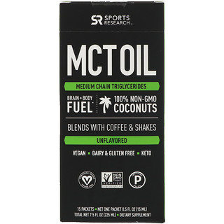 Sports Research, MCT Oil, Unflavored, 15 Packets, 7.5 fl oz (225 ml)