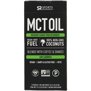 Sports Research, MCT-Öl, nicht aromatisiert, 15 Pakete, jeweils 7.5 fl oz (225 ml)
