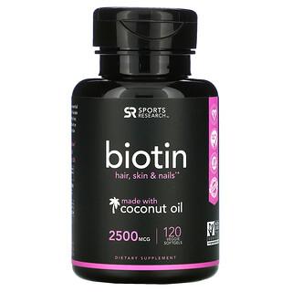 Sports Research, Biotine à l'huile de noix de coco, 2500µg, 120capsules végétariennes à enveloppe molle